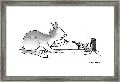 A Mouse Is In Front Of A Mouse Hole Pointing Framed Print by Joe Dator