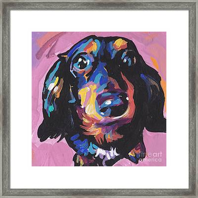 A Moxie Doxie Framed Print by Lea S
