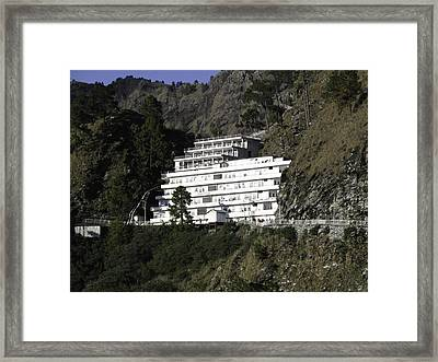 A Multi Level White Building On The Way To Vaishno Devi In India Framed Print by Ashish Agarwal