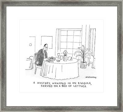 A Mystery, Wrapped In An Enigma Served On A Bed Framed Print by Mick Stevens