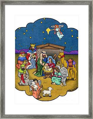 A Nativity Scene Framed Print by Sarah Batalka