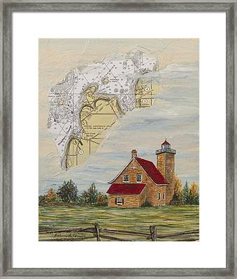 A Nautical View Of Eagle Bluff Lighthouse Framed Print by Bethany Kirwen