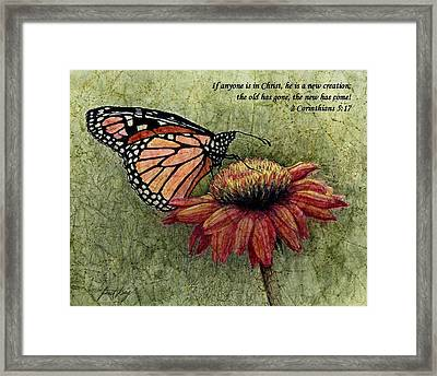 A New Creation From A Butterfly In My Garden Framed Print by Janet King