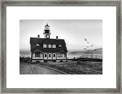 A New Day At Portland Head Light Bw Framed Print by Susan Candelario