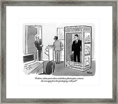 A New Employee Awaits Work Within His Package Framed Print