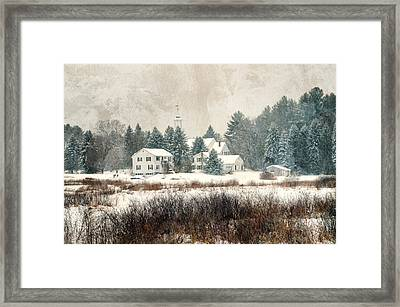 A New England Village In Winter- Antique - Textured Framed Print