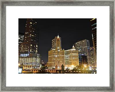 A Night Over The Chicago River Framed Print by Frozen in Time Fine Art Photography
