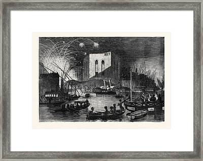 A Night Scene On The Nile Near The Mouth Of The Cairo Canal Framed Print by English School