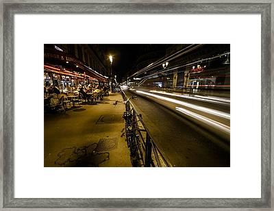A Night Street Scene In Paris Framed Print