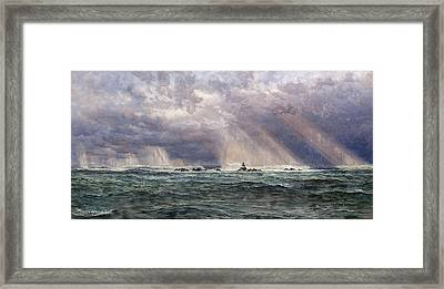 A North-west Gale Off The Longships Lighthouse Framed Print