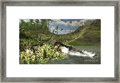 A Nothosaurus Catches An Unware Framed Print by Arthur Dorety