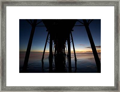 A Ocean Pier At Sunset In California Framed Print by Peter Tellone