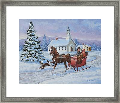 A One Horse Open Sleigh Framed Print