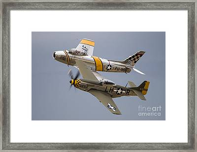 A P-51 Mustang And F-86 Sabre Framed Print by Rob Edgcumbe