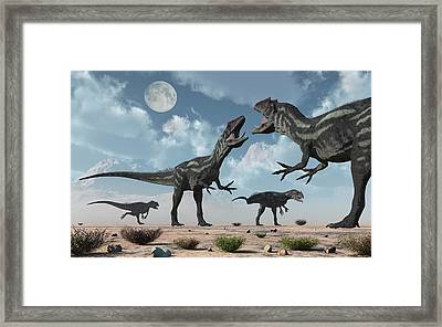 A Pack Of Allosaurus Dinosaurs Framed Print