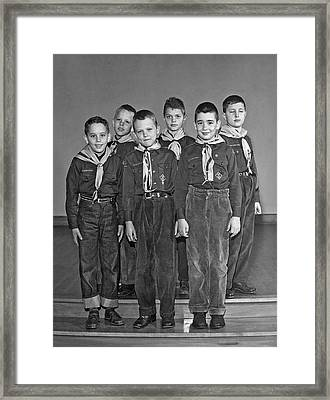 A Pack Of Cub Scouts Framed Print by Underwood Archives