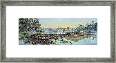 A Pair Of Allosaurus Dinosaurs Explore Framed Print by Mark Hallett