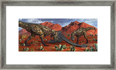 A Pair Of Carnotaurus Dinosaurs Ready Framed Print by Mark Stevenson