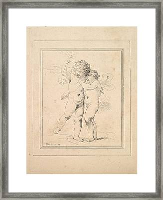 A Pair Of Cupids - Cupid And Psyche Framed Print by Thomas Rowlandson