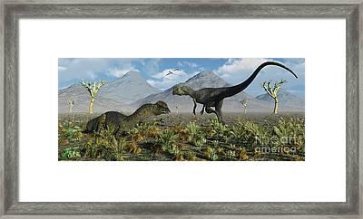 A Pair Of Dilophosaurus Dinosaurs Framed Print by Mark Stevenson