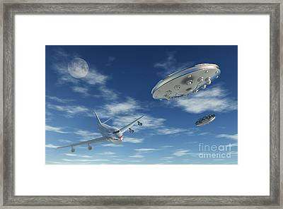 A Pair Of Silver Metallic Disc Shaped Framed Print
