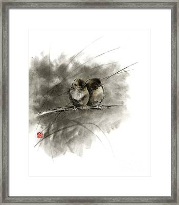 A Pair Of Sparrows Two Birds Brown Bird Original Ink Painting Artwork Framed Print by Mariusz Szmerdt