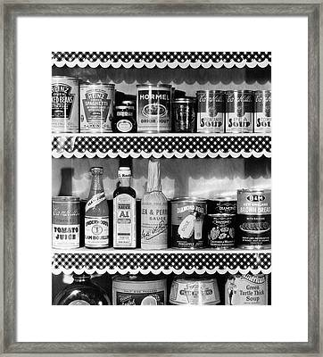 A Pantry Filled With Food Framed Print