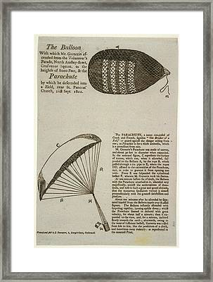 A Parachute Descent To A Field Near St Pa Framed Print