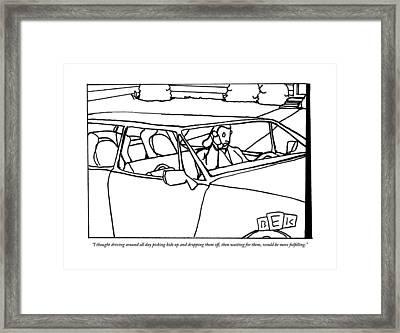 A Parent Driving A Car Framed Print by Bruce Eric Kaplan