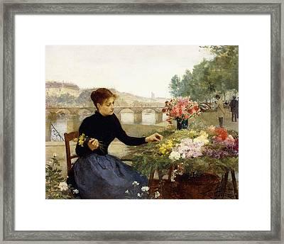 A Parisian Flower Market Framed Print