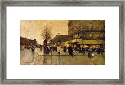 A Parisian Street Scene Framed Print by Eugene Galien-Laloue