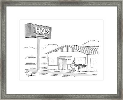 A Parody Of The Restaurant Ihop With A Logo That Framed Print by Charlie Hankin