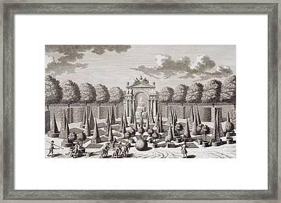 A Parterre With Orange Trees In The Garden Of The Lichtenstein Palace Framed Print by Salomon Kleiner