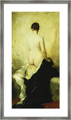 A Partially Draped Nude Framed Print by Charles Chaplin