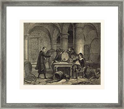 A Party In The Nineteenth Century In The Wine Cellar Framed Print by English School