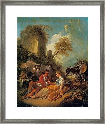 A Pastoral Landscape With A Shepherd And Shepherdess Framed Print by Francois Boucher