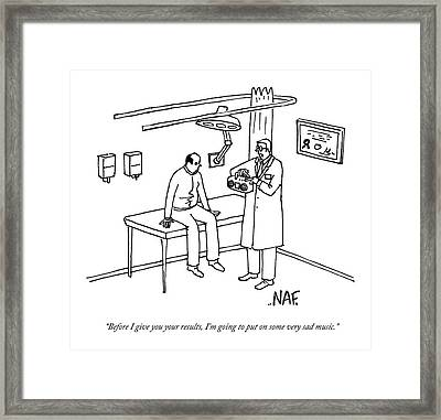 A Patient Sits On The Table In A Doctor's Office Framed Print