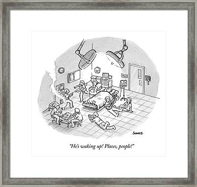 A Patient Sleeps In A Hospital Room Framed Print