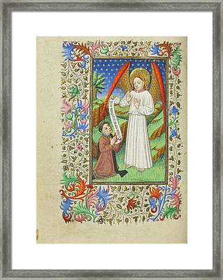 A Patron And His Guardian Angel Master Of Sir John Fastolf Framed Print