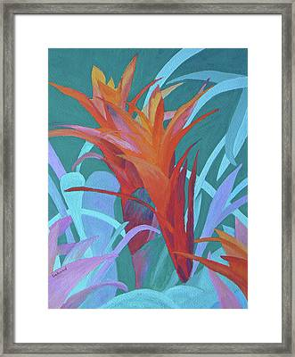 Framed Print featuring the painting A Pattern Of Bromeliads by Margaret Saheed