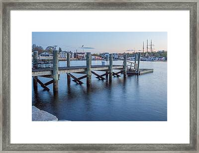 A Peaceful Dock -  Mystic Ct Framed Print