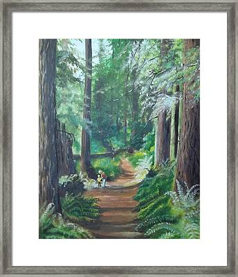 A Peaceful Walk In The Redwoods Framed Print by Terry Godinez