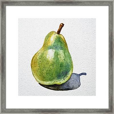A Pear Framed Print by Irina Sztukowski