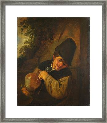 A Peasant Holding A Jug And A Pipe Framed Print