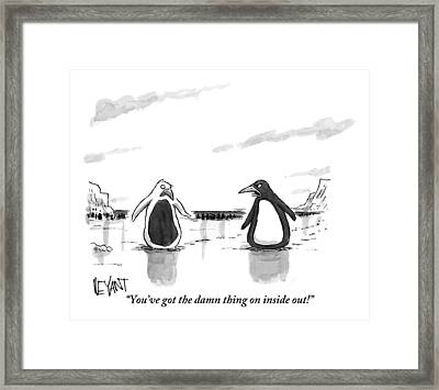 A Penguin Is Seen Talking To Another Penguin Framed Print