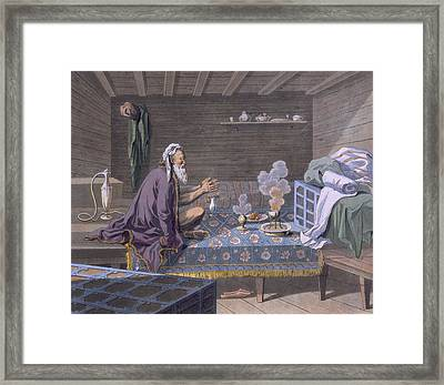 A Persian Doing His Morning Prayers Framed Print by E. Karnejeff
