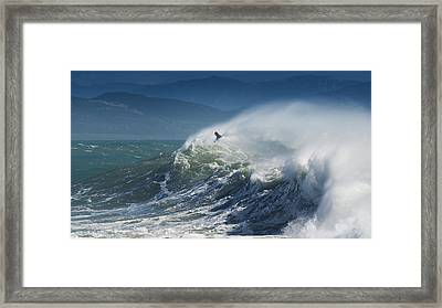 A Person Surfing In The Waves Along The Framed Print by Ben Welsh