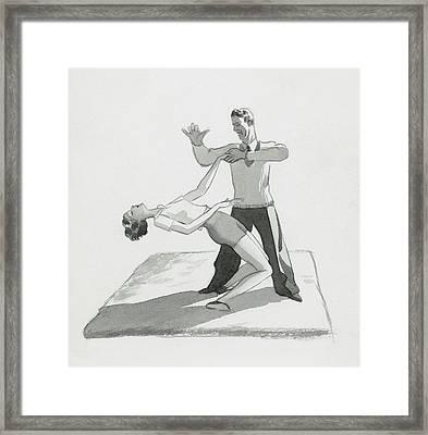 A Physical Instructor Giving A Lesson Framed Print by Herbert Libiszewski