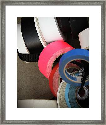 A Pile Of Multicolored Rolls Of Tape Framed Print