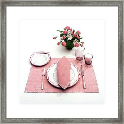 A Pink Table Setting Framed Print by Haanel Cassidy